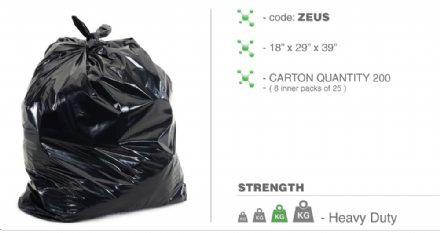 Zeus H/Duty Refuse Bags Qty 200